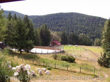 Skating Rink and Mountains behind Cottage