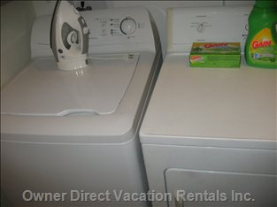 Convenience.   No Laundromat Needed. Enjoy the Simplicity of Having you Own  Washer, Dryer, Ironing Board, Iron