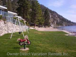 Beach and Play Area in Front of Cabin
