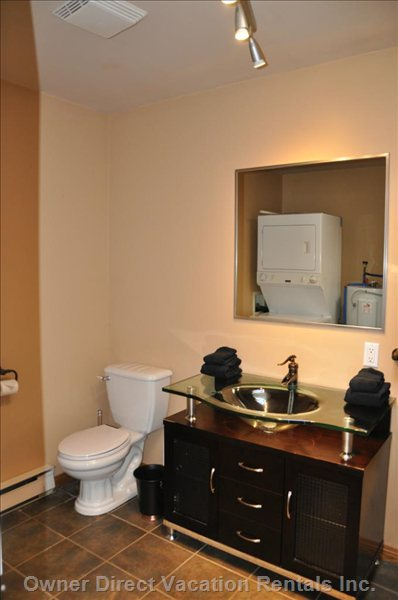 Large Full Bathroom with Laundry and Walk-in Shower