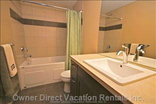 Modern with Soaker Tub Bath - Lovely Main Bath with Great Shower and an Even Better Soaker Tub.