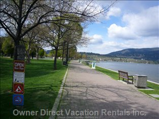 Walk along the Banks of Okanagan Lake - a Morning Stroll to your Favourite Coffee House Or an Afternoon Or Evening Walk by the Lake.