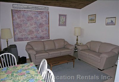 Comfortable Living Area - Satellite TV with Video