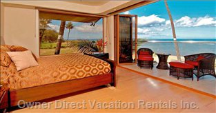Master Bedroom with Folding Doors Open to Enjoy the Oceanview