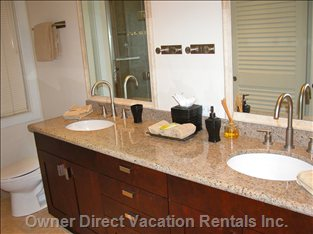 Master Bathroom Ensuite has Two Sinks, Granite and Tile