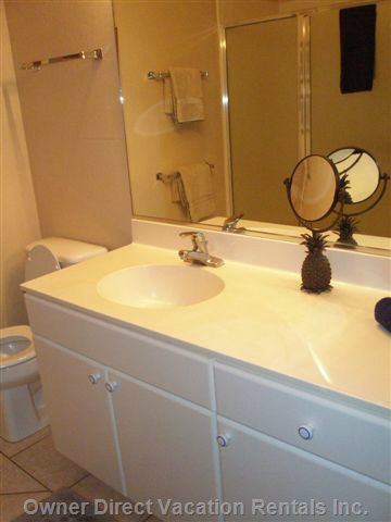 Large well-Lit Bathroom W/Walk-in Shower. Single Sink with Lots of Counter Space and Medicine Cabinet. Plenty of Bath and Beach Towels