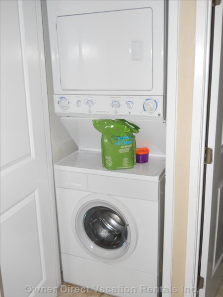 Ensuite Laundry is Super-Convenient, Soap Provided. Iron and Ironing Board is in the Closet, as is a Drying Rack.
