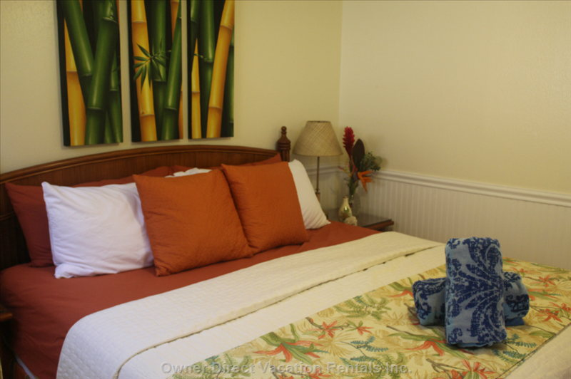 Tropical Bedroom with King Size Memory Foam Mattress