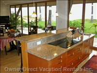 Kitchen has an Ocean View - Enjoy Cooking While While Hearing and Viewing the Ocean.