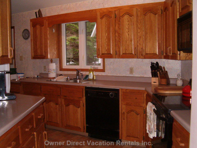 Partial View of Kitchen.  Counter Extends to Right and behind Viewer.