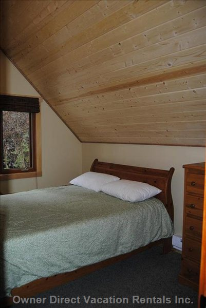Upstairs Bedroom - with Queen Sleigh Bed, Dresser, Bedside Table and Closet