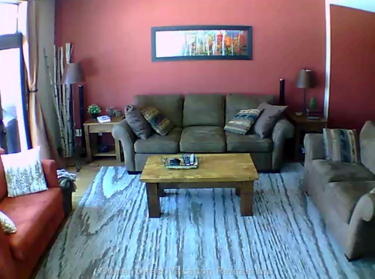 Living Room with Pull out Couch and Large Screen Tv