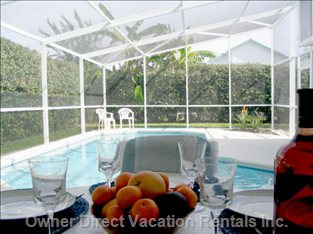Shaded Lanai Overlooks Sunny Pool and Deck.