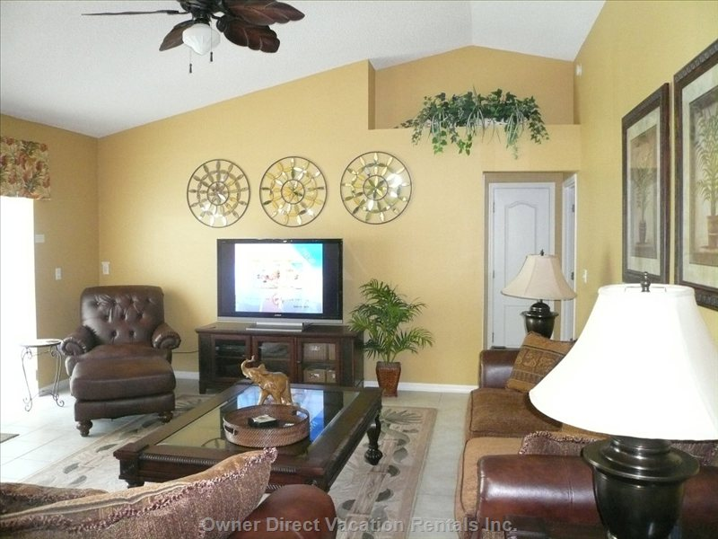 Family Room with 52 Infh TV and Wii and Playstation Video Games.