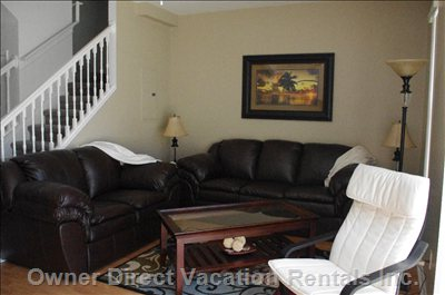 Your Home Away from Home - Relax in this Newly Furnished Living Room - Brand New Leather Living Room Furniture with a 50 Inch Hd TV to Enjoy after a Long Day of Attractions, Shopping Or the Beach!