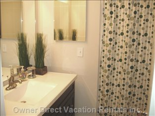 The Master Bath with a Huge Walk-in Shower and everything you Need - Even a Hair Dryer!