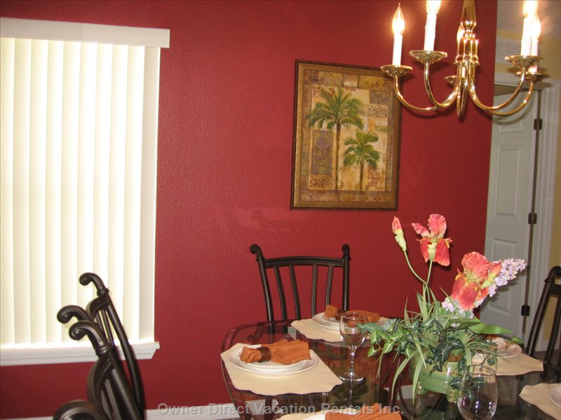 Dining Room - Glass Top Table with 6 Chairs, Painted Red for Warmth