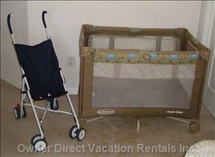 Stroller & Crib/Playpen - a Basic, Lightweight Stroller and Crib that Converts to a Playpen.  we Also Provide 2 White Fitted Sheets and a Blanket.