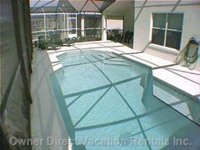 Screened Pool Area Showing the Pool which is 6 Feet Deep at one End and 3 Feet at the other