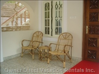 Bamboo Chairs in Villa Front Patio and Front Door