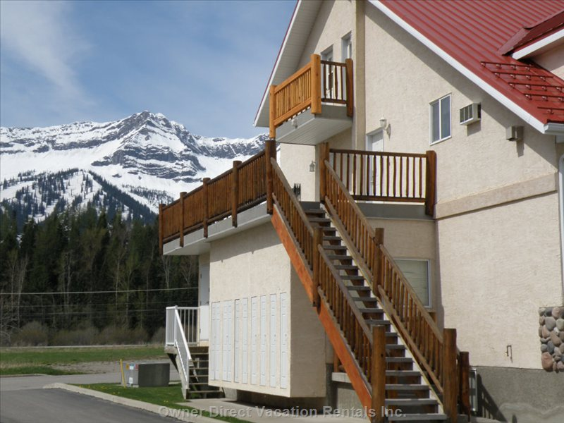 Front of Townhouse - Entrance to the Suite and View of Fernie Alpine Resort Mountains in the Background