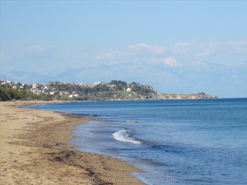 Zaga Beach with Koroni and the Mani Peninsula in the Background.