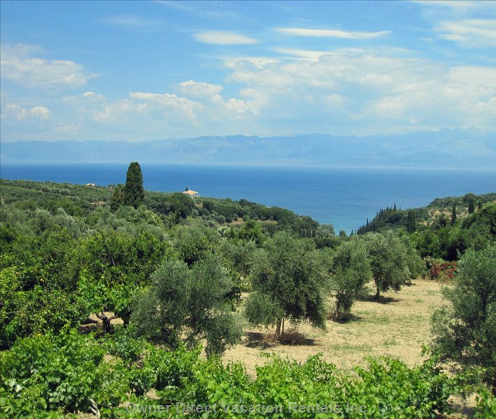 View from the Road Leading down to Koroni. Here you Can See Villa Sofia from Long Distance.