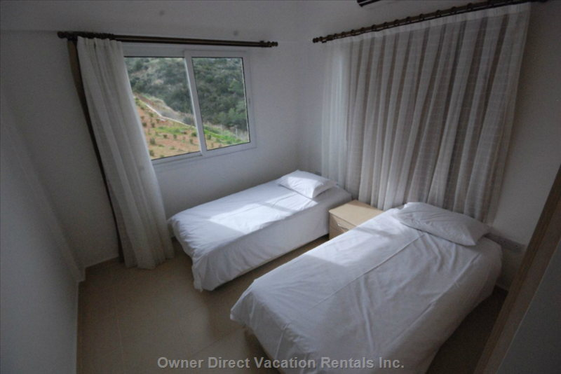 Bed Room 2 - 2 Single Beds with Orthopedic Mattress , Side Table and Closet- Sea & Mountain View