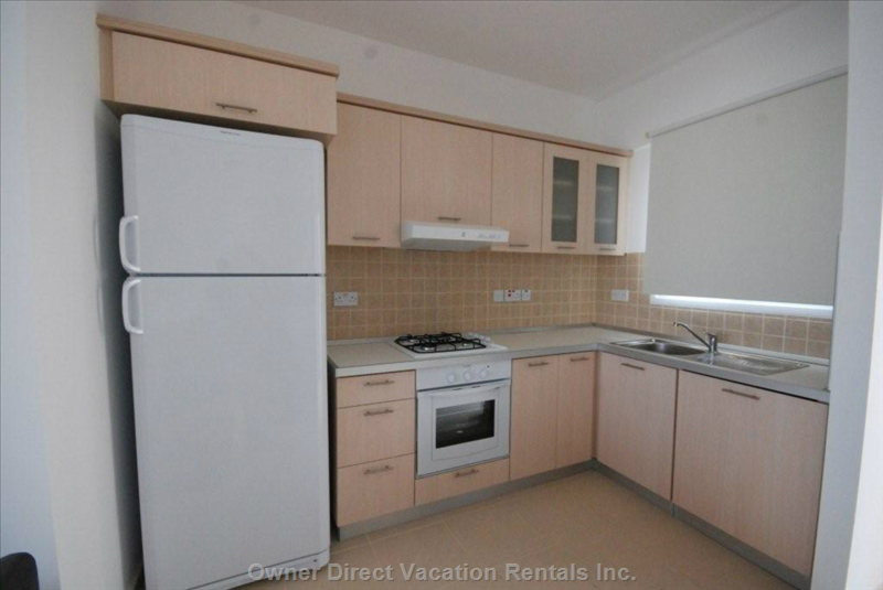 Kitchen Area with Mountain View - Oven, Gas Stove, Refrigerator, Microwave, Cutleries and Utensils