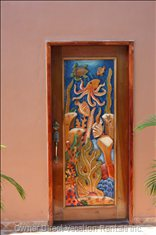Carved Reef Door to Casita - Artisan who Carved this Reef Door is from EL Progresso, he Also Carved the French Doors on the Pavillion Entrance to Casita