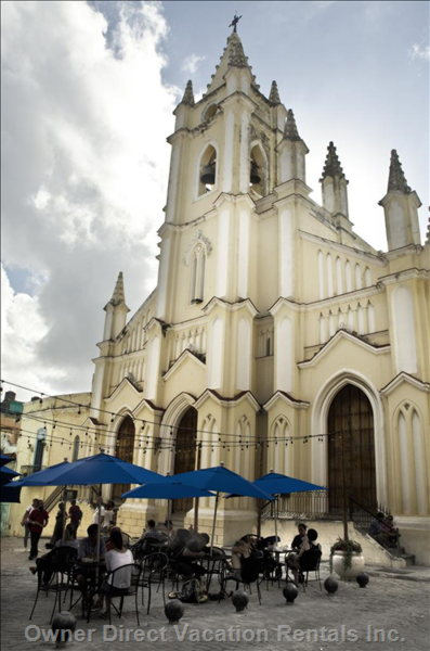 Iglesia Del Santo Angel Custodio, Just out of your Door. Located in one of the Cutest Plazas in Old Havana with Restaurants and Cafes.