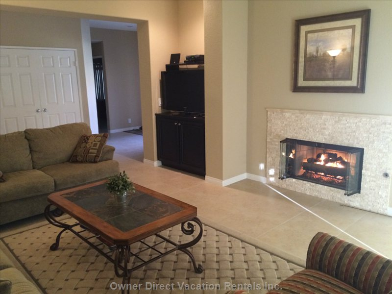 Renovated Living Room with Gas Fireplace