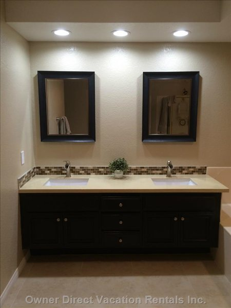 Master Bath with Dual Sinks, Shower and Bathtub