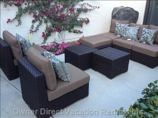 The Courtyard has Relaxing Furniture that is Moveable to Accommodate your Preferences.
