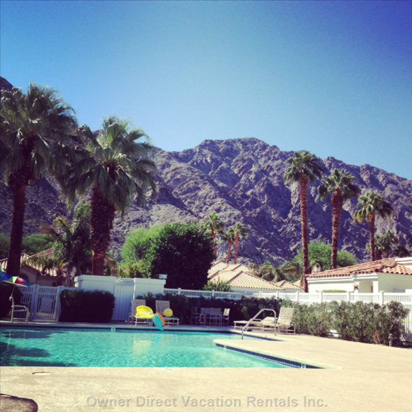 There are 2 Pools & Jacuzzis Steps from the Condo. They Sit on the Course with Bonus View of the Santa Rosa Mountains.