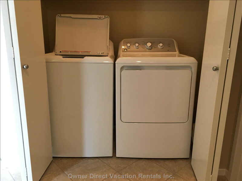 Brand New Washer and Dryer for your Laundry Needs and Cleaning Supplies Available to Use.