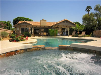 Beautiful East, South and West Facing Gardens Surround our La Quinta Vacation Home with Private Saltwater Pool and Spa