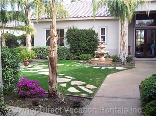 Gated and Private Court Yard with Beautiful Fountain