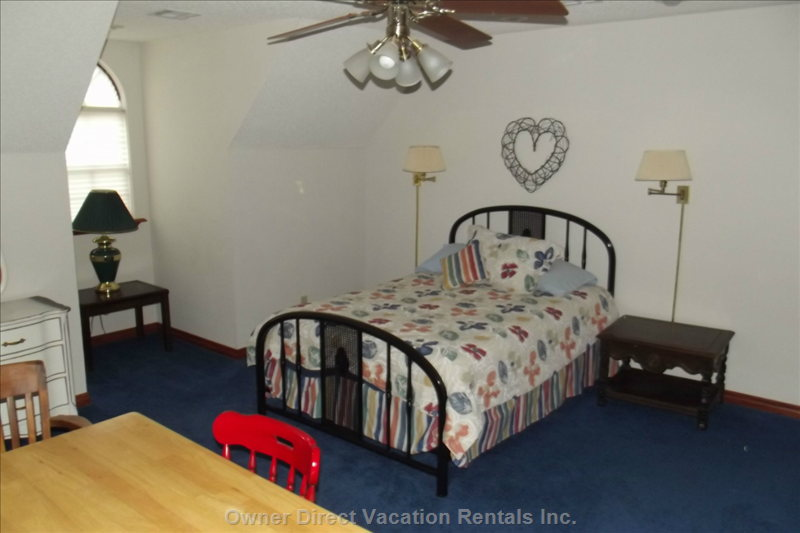 Bedroom with Double Bed - Also has Game Table and Chairs,  Upstairs Bathroom