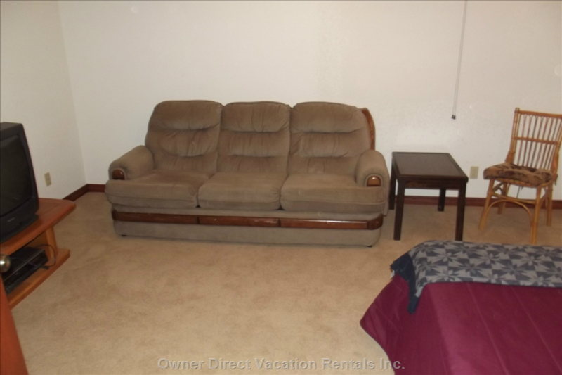 Downstairs Bedroom - Bed, Sofabed, TV with VCR - Sofa is a Hide-a Bed-. Air Mattress Also Available.