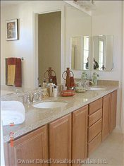 Master Bathroom with Double Sinks and Jetted Tub