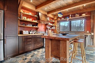 Restaurant Grade Kitchen with Gas Stove and Large Butcher Block