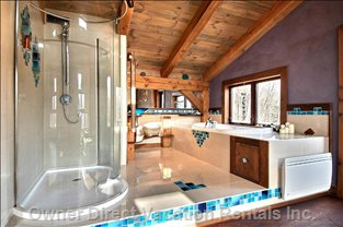 Modern Master Bedroom Bathroom with Large Tub, and Shower