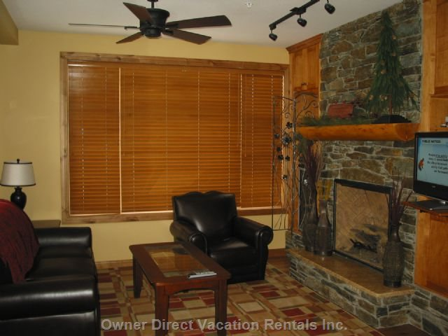 Living Room with Fireplace, Lcd TV and Wine Fridge