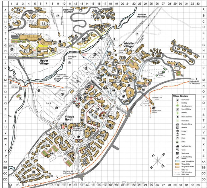 Village Map. Cedar Ridge Condo is in Grid a-17