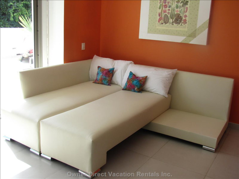 Living Room Sectional Converts to Double Bed.