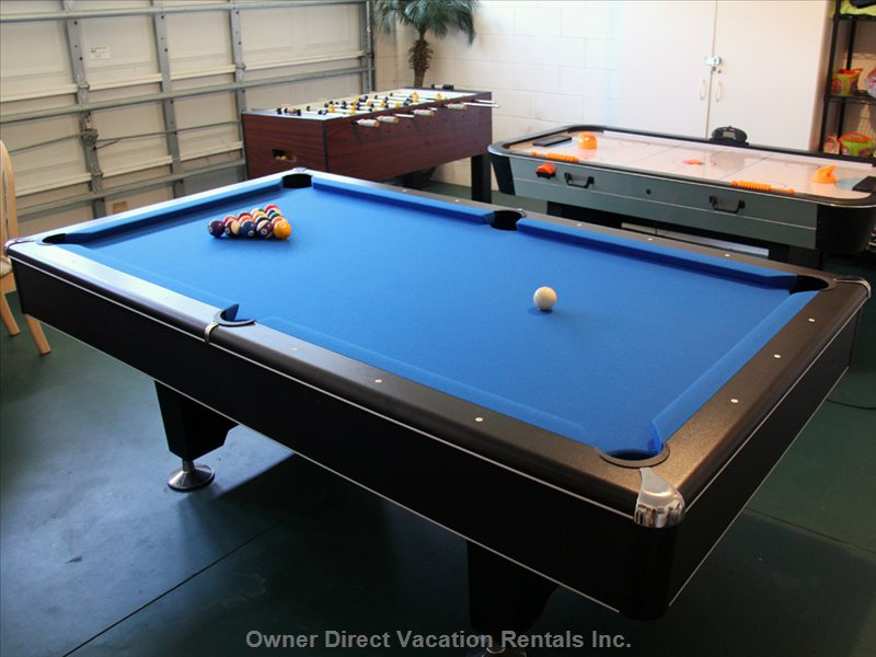 Games Room with Pool, Foosball and Air Hockey,