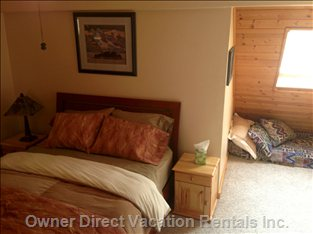 Upper Level Master Bedroom with Single Foam Mattress for Additional Guest.