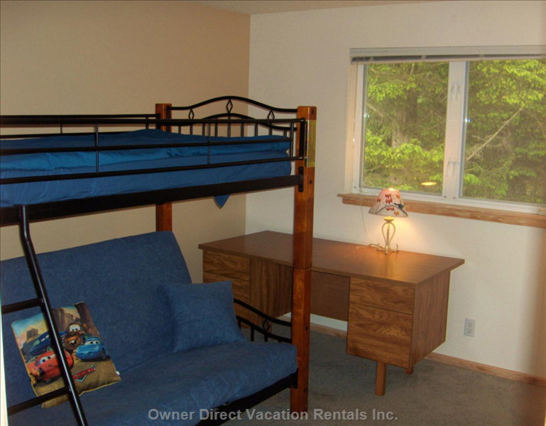 Upstairs Bedroom with Bunk Bed with Futon on Lower Half - Shares a Full Bath with the Master