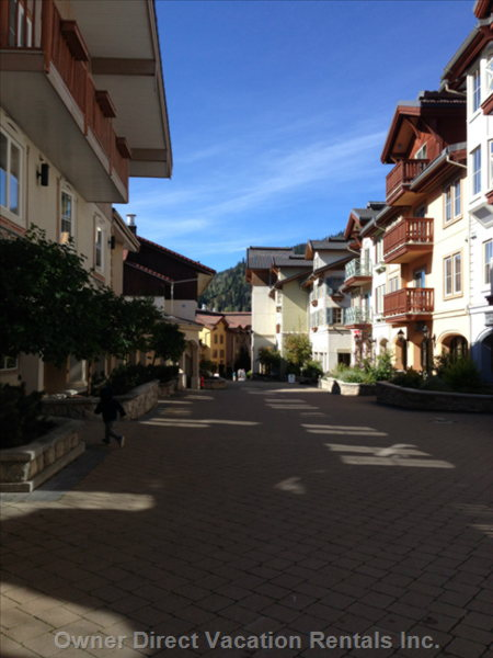 From the Chalet Take a Beautiful 15 Minute Trailed Walk into our Quaint European like Village.